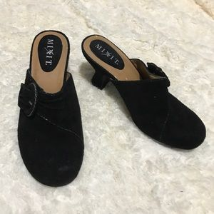 Black Suede Slides with Buckles and Kitten Heels